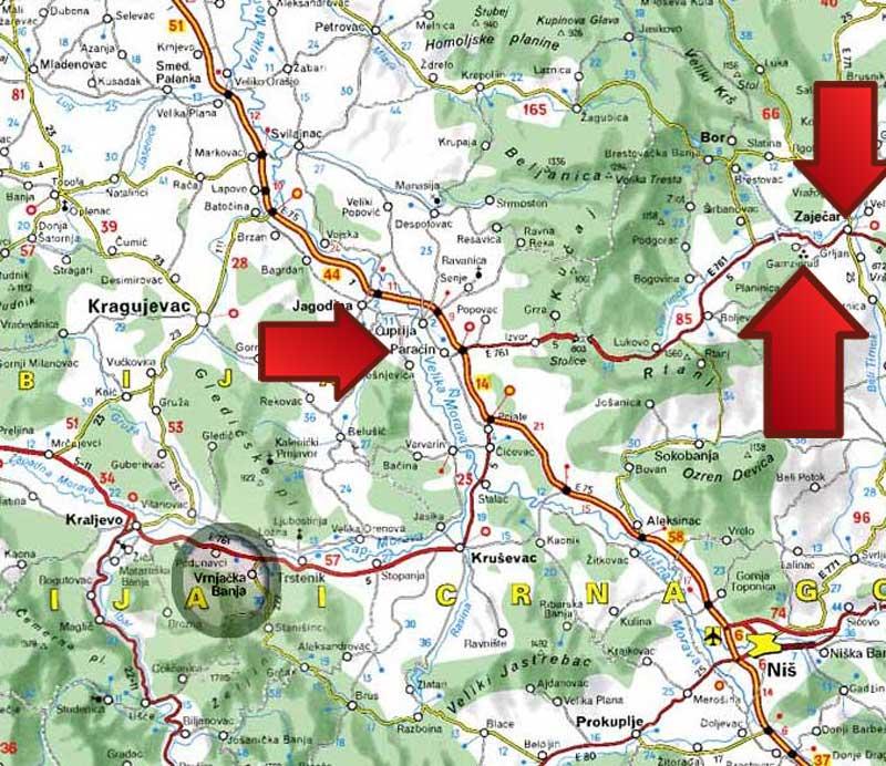 mapa srbije zajecar Mapa | Gamzigradska Banja mapa srbije zajecar