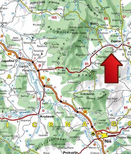 Mapa Gamzigradska Banja